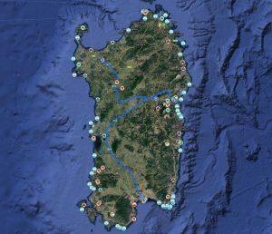 Mappa della Sardegna Hosteja